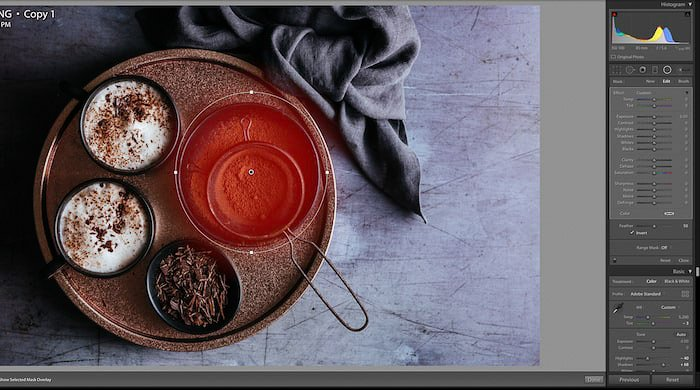 Screenshot of editing a flat lay food photo of delicious chocolate dessert - using lightroom shortcuts
