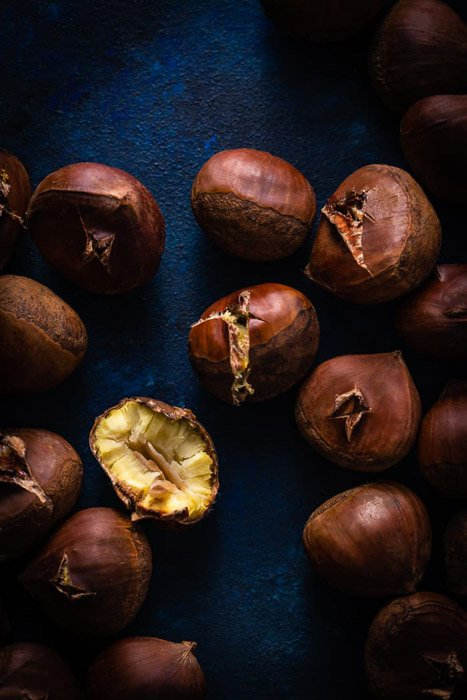 Final Image of chestnuts on blue background editing with Luminance Mask applied