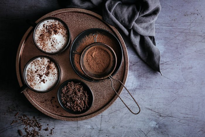 A flat lay food photo of delicious chocolate dessert - using lightroom shortcuts
