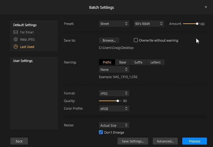 A screenshot of how to batch edit with Skylum's Luminar 2018
