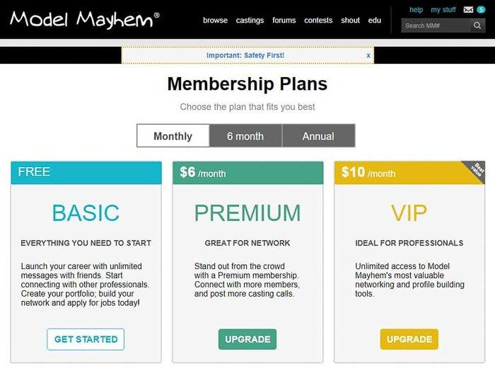 Screenshot of the model mayhem site price plan