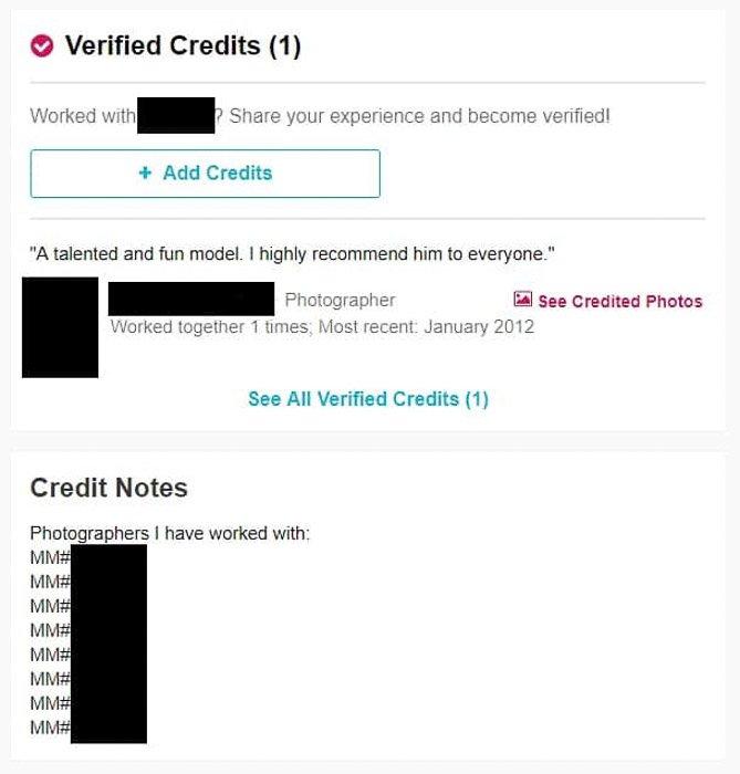 Screenshot of checking reviews model mayhem website