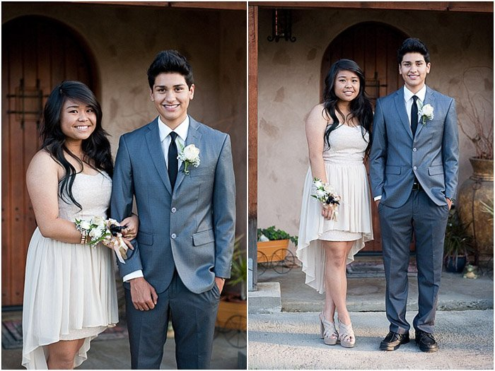 Cute prom pictures diptych of a teen couple posing outdoors