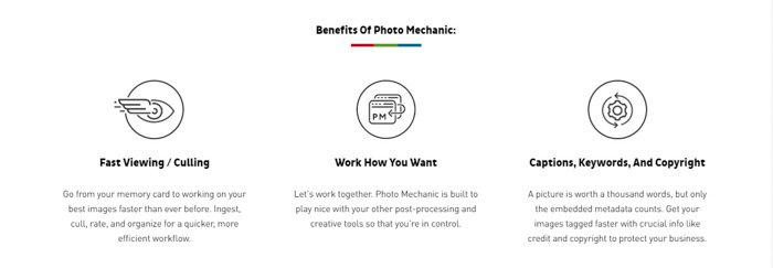 A screenshot from the photo mechanic website highlighting the benefits of using this software