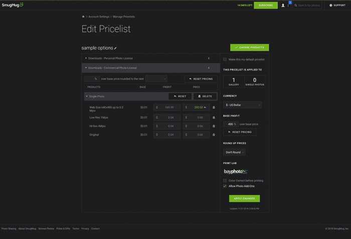 Screenshot of editing a pricelist on smugmug