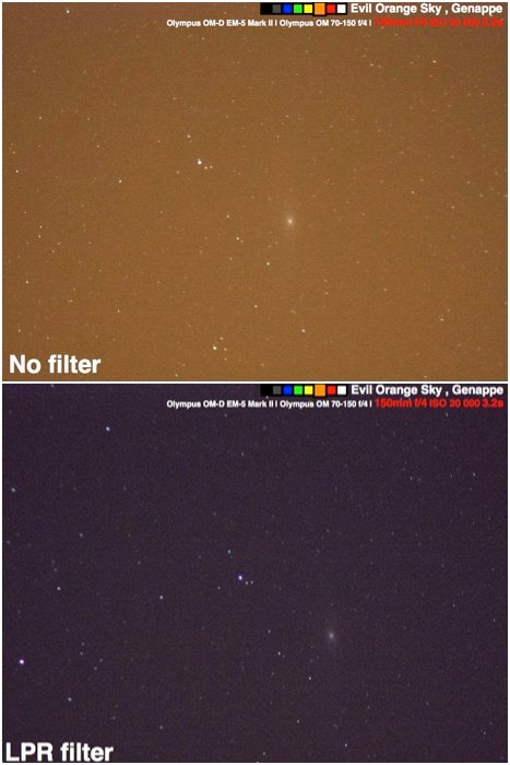 Diptych comparing trying to photograph the Andromeda galaxy under a heavily polluted sky with and without an LPR filter.