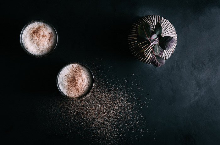 A flatlay shot of dark and mood food photography - stock photography business