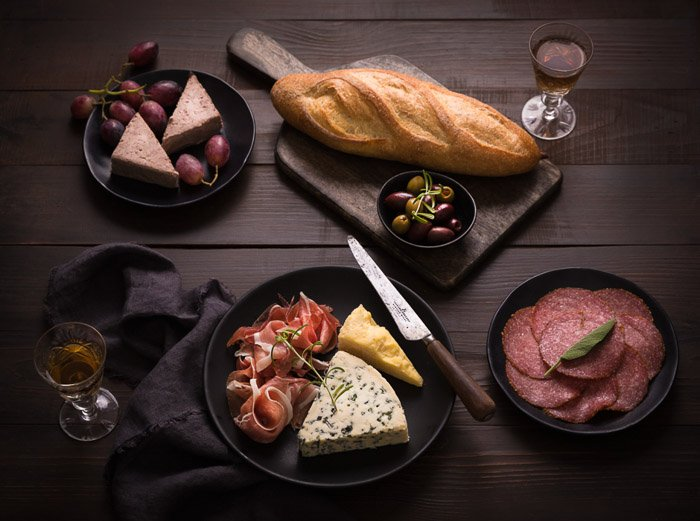 A flatlay shot of gorgeous food photography - stock photography business