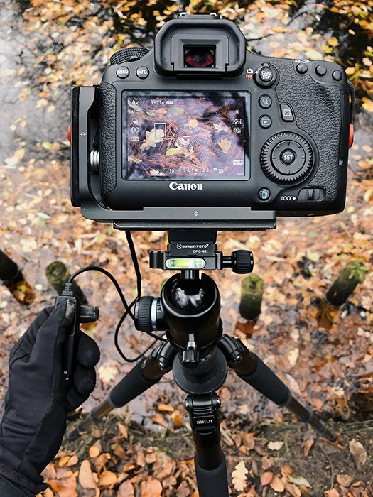 A DSLR camera set up on a tripod to take symmetry in nature photography