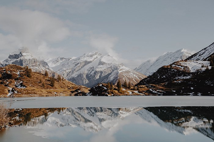 A stunning mountainous landscape with a lake adding reflection and depth - symmetry in photography