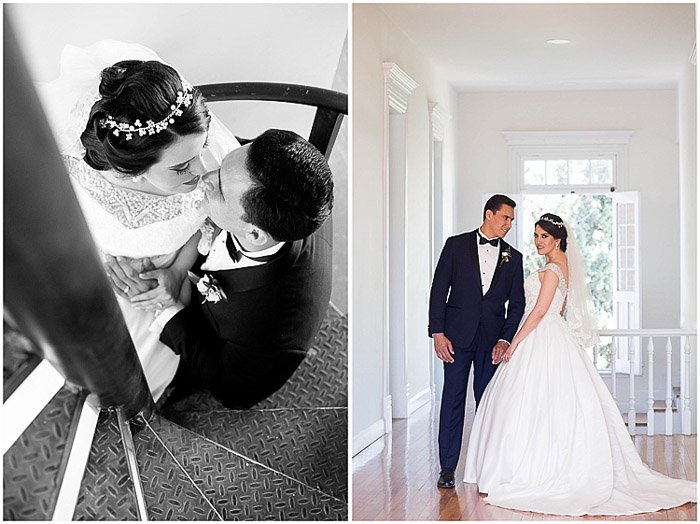 Destination wedding photography diptych of the couple embracing indoors