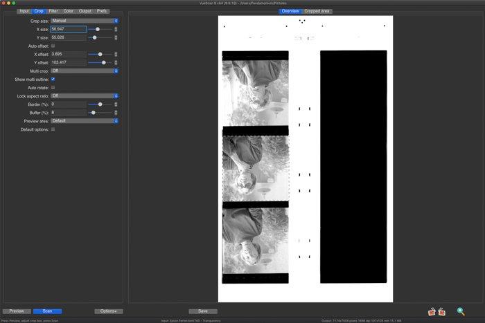 A screenshot of VueScan film scanning software interface