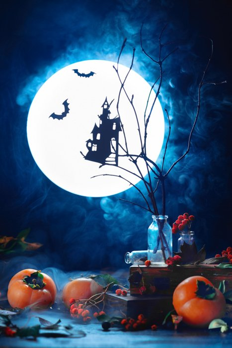 A Halloween themed still life composition highlighting use of contrasting colors in photography