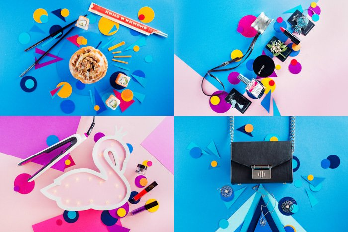 A fun still life grid with emphasis on bright contrasting colours