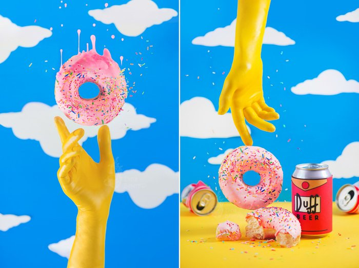 A Simpsons themed still life diptych with emphasis on contrasting colors yellow and blue