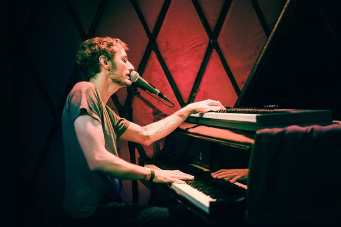 Brian Trahan of Sun Nectar performing a set at Rockwood Music Hall in Lower East Side of NYC.