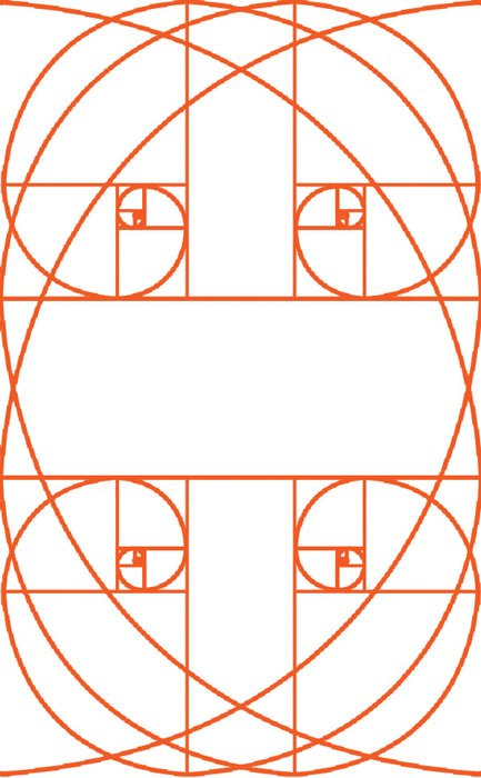 the golden ratio grid used in different way in a portrait orientation