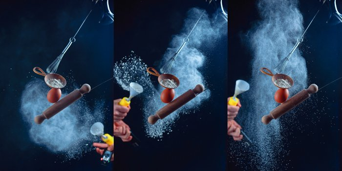 Triptych showing the stages of shooting a creative still life photo using flying kitchen utensils and flour clouds
