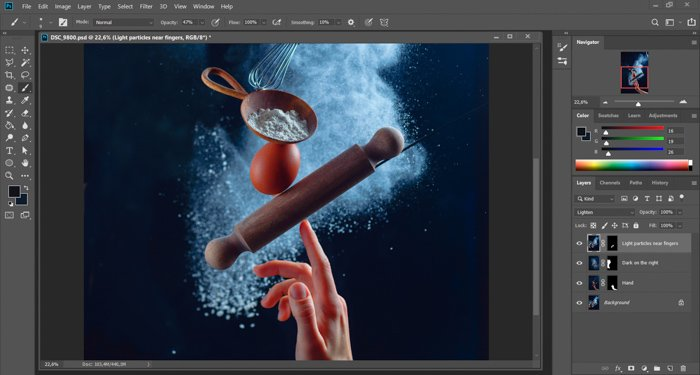 Screen shot of post processing a still life using flying kitchen utensils and flour clouds - creative still life photo
