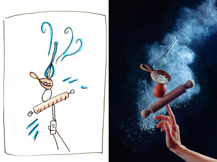 Diptych showing the initial sketch and finished still life shot using kitchen utensils and flour clouds