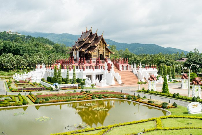 Aerial view of a temple in Thailand