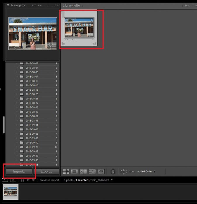 A screenshot showing how to import a photo to crop or straighten photos in Lightroom