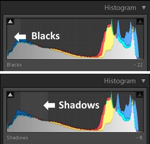 lightroom直方图的屏幕截图-在lightroom中使用阴影和黑色