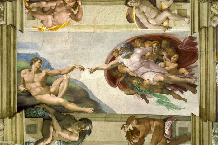 Michelangelo's Creation of Adam - using the principles of design in photography