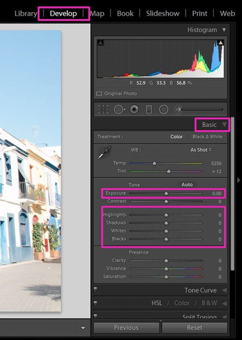 Screenshot showing how to correct exposure in Lightroom - the Develop module