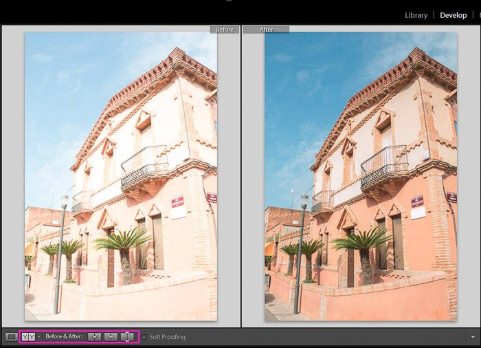 A comparison of before and after fixing an overexposed photo in Lightroom
