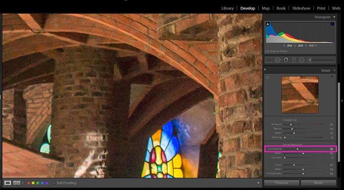 Screenshot showing how to correct exposure in Lightroom - How to Decrease Image Grain