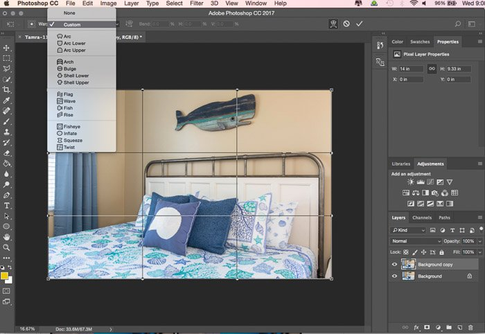 A screenshot showing how to use the Photoshop warp tool