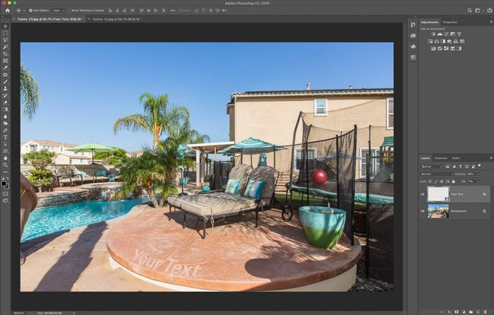 A screenshot showing how to use the Photoshop warp tool for real estate photography - Final image with text slightly textured as a blend layer