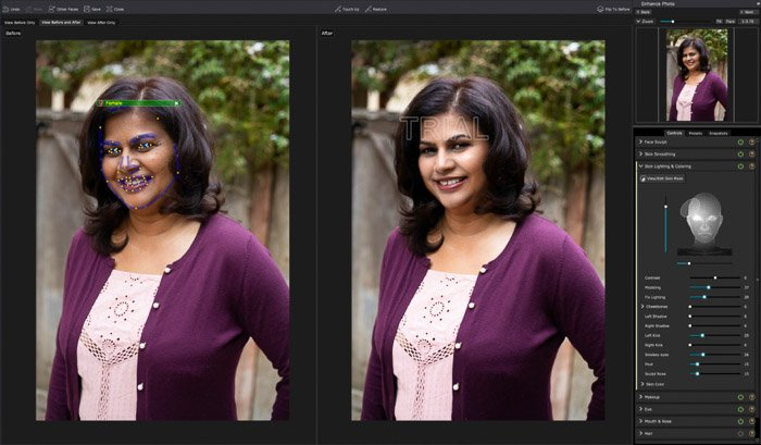 A screenshot of editing a portrait in PortraitPro 17 - Skin Coloring and Coloring section