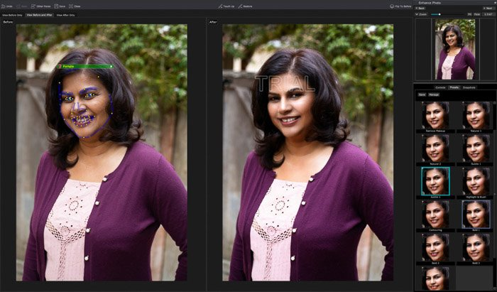 A screenshot of editing a portrait in PortraitPro 17 - Make-Up Presets. Before photo shows automatic face detection points.