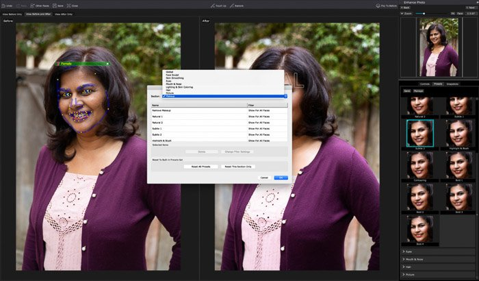 A screenshot of editing a portrait in PortraitPro 17 - While you can delete presets and assign them to certain type of faces, it doesn't show an option for creating your own.