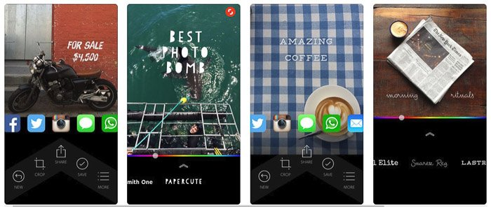 The Quick app homepage - apps to add text to photos
