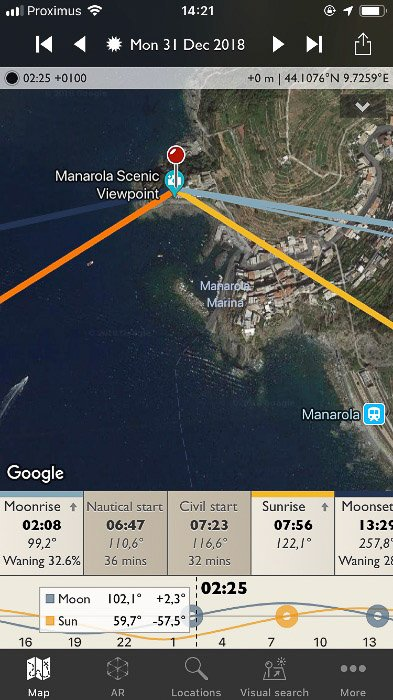 Screenshot of the Photographer's Ephemeris interface on a smartphone screen - Sun and Moonrise and set points are shown as line radiating from the location pin.