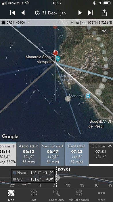 Screenshot of the Photographer's Ephemeris interface on a smartphone screen. The Info bar displays different info in night mode.