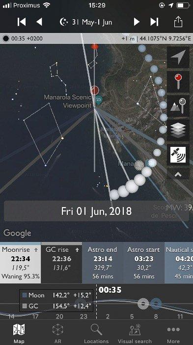 Screenshot of the Photographer's Ephemeris interface on a smartphone screen.