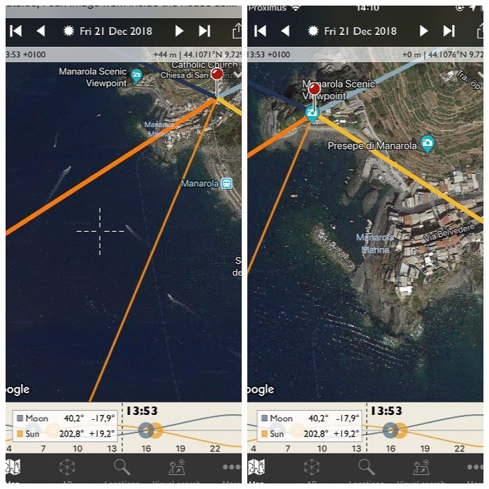 Screenshot of the Photographer's Ephemeris interface on a smartphone screen. Selecting the Scenic viewpoint as new location.