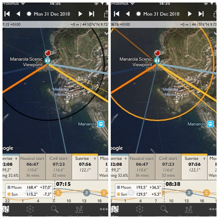 The Photographers Ephemeris shows the golden hour turning yellow the black circle centred on the location pin.