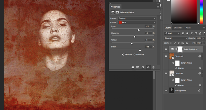 A screenshot showing how to create abstract portraits in Photoshop - opacity tool