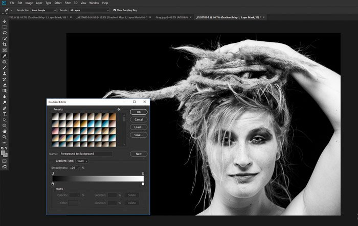 A screenshot of converting a portrait to black and white using the Photoshop gradient map tool