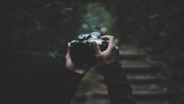 A close up of a photographer taking shots in a dark forest