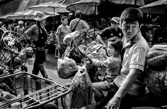 A black and white street photo taken with a Nikon prime lens