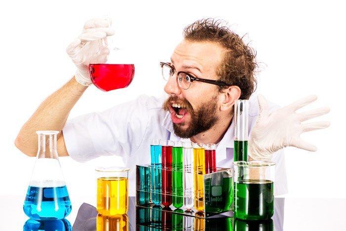 A portrait of a mad scientist shot with Nikon prime lenses