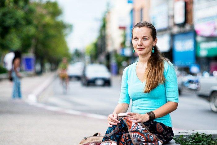 A female model posing outdoors - nikon prime lenses