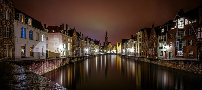 A stunning night view of Bruges, Belgium