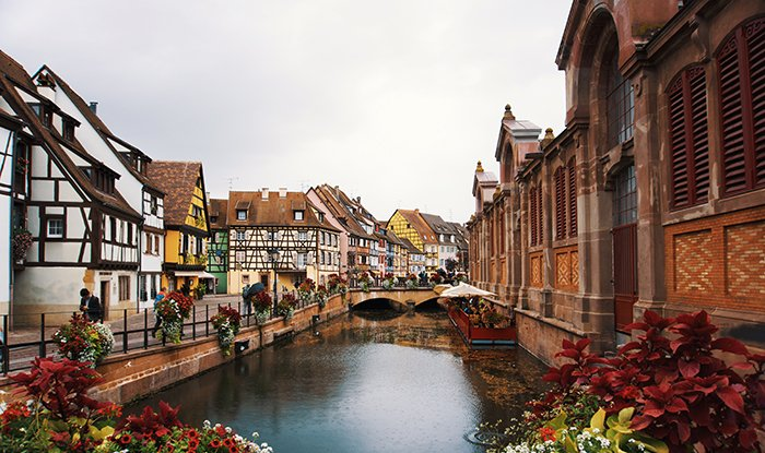 A peaceful view of a canal in Colmar, France